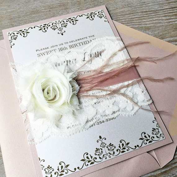 SAVANNA - Blush and Ivory Lace Wedding Invitation - Lace Belly Band - Ivory Lace Wrap with Ivory Chiffon Flower, Blush Ribbon & Feathers