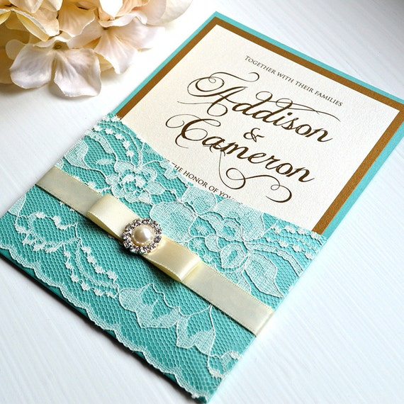 ADDISON - Lace Pocket Wedding Invitation - Antique Gold and Aqua/Turquoise Pocket Invitation with Ivory Lace, Ivory Ribbon, and Pearl Button