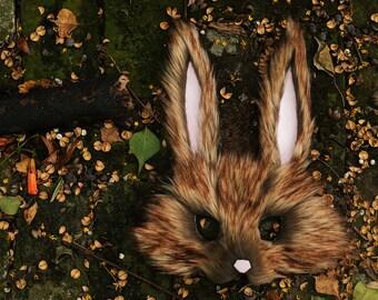Brown Rabbit Mask, handmade by Spirit Parade