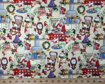 Mrs Santa Claus Fabric By the Yard, Half, Fat Quarter Elf Kitchen Cook Cookies Christmas Xmas 100% Cotton Quilting Apparel Fabric t/s-17r
