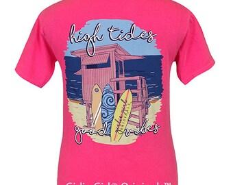 Girlie Girl Originals High Tides Neon Pink Comfort Colors T-Shirt