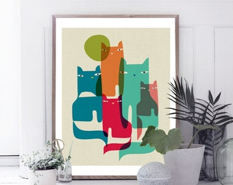 cat art,abstract cat,modern cat art,cat decor,nursery art,modern nursery decor,home decor,cat wall art, print wall decor printable