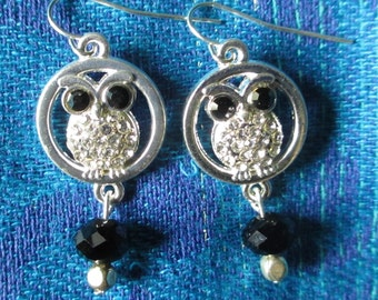 Athena's Owl Swarovski Crystal Earrings