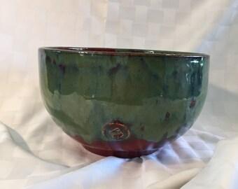 Crimson Red and Jade Green Ceramic bowl