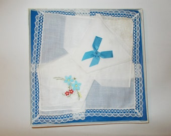 Vintage Womens handkerchiefs - floral embroidery - lace edged hankies in original packaging