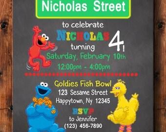 Sesame Street Birthday Invitation, Elmo Invitation, Big Bird Invitation, Cookie Monster Invitation, Birthday Invitation, Sesame Street Theme