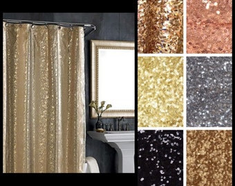 Sequin Fabric Shower Curtain (Various Sequin Colors Available)