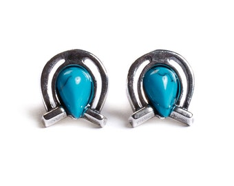 Henryka Turquoise & Silver Small Horseshoe Stud Earrings