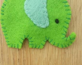 Felt elephant brooch