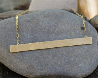 Large bar necklace, gold necklace, brass necklace, hammered bar, bar necklace, XL Bar Necklace