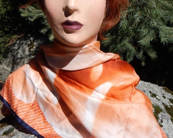 Grace Wisdom Talbots Orange Floral Silk Scarf