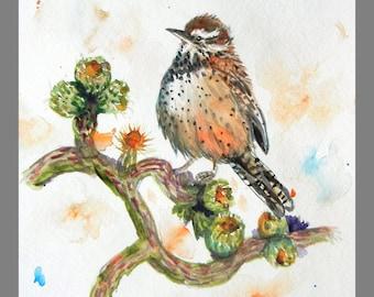 "Original Water Color Painting Printing, Bird, 8""x10"", 160409"