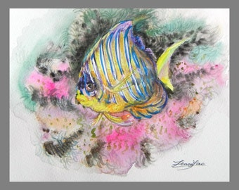 Original Water color Painting, Tropic Fish I, 8x10 inch, 160405