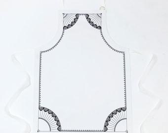 Paper Kite white cotton apron with black & white design