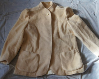 Vintage 1950's - Forstmann wool and mohair coat by Jill Jr in Ivory -