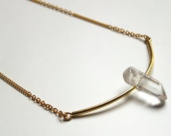 "Necklace ""Saâd"" // golden or silvery necklace // Rock Crystal gemstone"