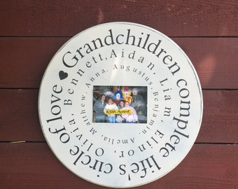 ON SALE Gift for grandparents - mother's day gift for grandma - grandchildren sign - grandchildren complete life's circle of love - sign for
