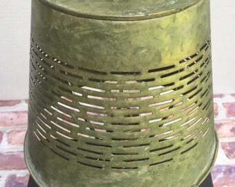 Vintage Stacked Book Light // Stacked Book Light // Vintage Book Lamp // Desk Lamp // Upcycled Light // Olive Basket Light // Office Lamp
