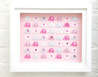 Baby girl elephant decor ~ New baby girl elephant gift~ framed pink elephants ~ Elephant playroom decor ~ framed elephants Baby shower gifts