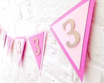 Pink and gold birthday bunting ~ Birthday banner personalised ~ Princess party decor ~ Children's personalised birthday garland
