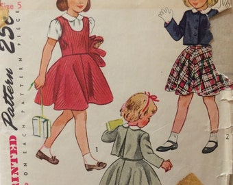 Simplicity 2948 girls blouse, jumper & bolero size 5 vintage 1940's sewing pattern
