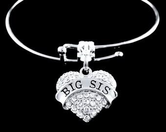 Big Sis Bracelet  Best Sis Bracelet  Big Sis Jewelry  Big Sis crystal Heart Charm Bracelet