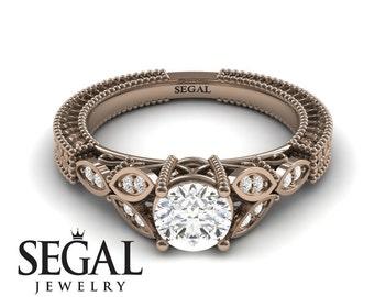 Victorian Engagement Ring Rose Gold Filigree Ring Edwardian Engagement Ring Moissanite Ring Antique Ring victorian Engagement Ring - Adeline