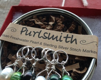Cream, Clover & Evergreen Mix Freshwater Pearl and Sterling Silver Stitch Markers for Knitting, Set of 6, Knitting Notions, Gift for Knitter