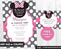 Minnie Mouse Birthday Invitation, Minnie Mouse thank You Cards, Minnie Mouse Birthday Party Invites