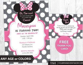 Minnie Mouse Birthday Invitation, Minnie Mouse thank You Cards, Minnie Mouse Birthday Party Invites