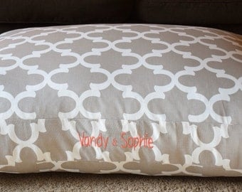 Olivia Dog Bed * Ecru * Small Medium * Tan * Charlotte Quatrefoil Collection * Custom Pillow Cover * Personalize Pups Name * TSD