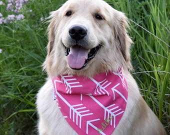 Dog Bandana || Classic Tie Pet PupDana || Pink Arrows || Ready to Ship || Pink Polka Dots || Personalized Puppy Gift || Three Spoiled Dogs