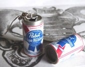Pabst Beer Earrings Miniature Beer Can 3D Pabst Blue Ribbon Alcoholic Beverage Dangle PBR Charms PeculiarCollective Jewelry
