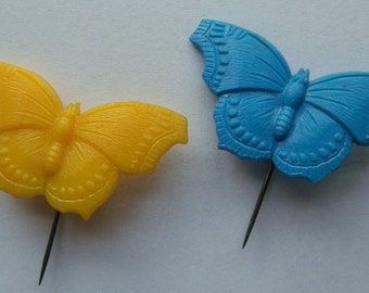 Two 1960's Plastic Butterfly Stick Pins Lapel Badges: Yellow and Blue