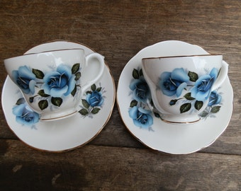 Harleigh Bone China 1950's Blue Rose Pattern Tea Cups and Saucers Made in England