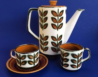 Vintage Mid Century Boch Belgium Pottery Coffee Pot, Cup and Saucer, Creamer