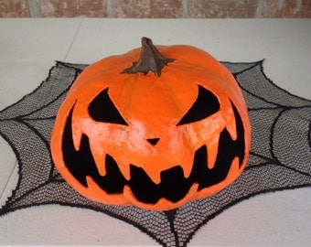 Halloween Paper Mâché Jack-O-Lantern Decoration/Tea Light Holder