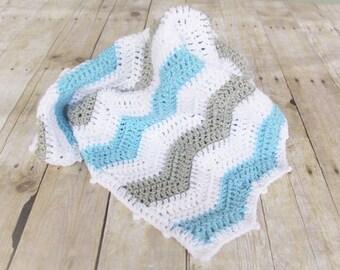 Blue Grey Chevron Blanket, Chevron Blanket, Crochet Baby Blanket, Ready to Ship, Blue Nursery Bedding, Baby Gift, Stroller Blanket, Prop