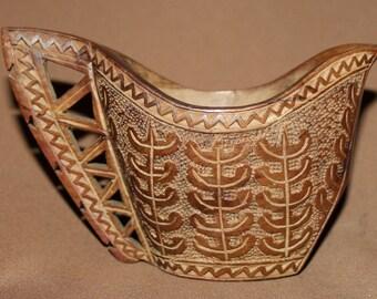 1973 Folk carving wood pitcher jug