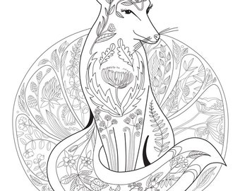 Coloring Pages For Adults Fox With Ornaments Printable Page Relax