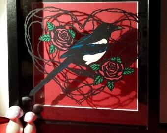Magpie Heart Framed Papercut