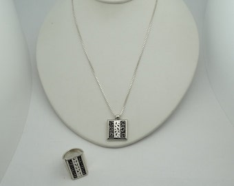 Lovely Matched Solid Sterling Silver Ring, Pendant And 30 Inch Sterling Silver Chain Set #SETRGPD-SPC3