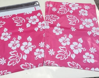 "50 / 75 / 100 Pink Aloha Hibiscus 6""x9"" Poly Mailers, Gift Wrapping, Poly Mailing  Self Sealing Shipping  Envelopes Perfect for smaller item"