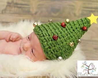Newborn Christmas Tree Hat, Newborn photography prop, newborn boy, crochet christmas tree hat, crochet hat