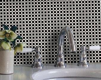 Tile Decals - Tiles for Kitchen/Bathroom Back splash - Floor decals - Mexican Dot to Dot Vinyl Tile Sticker Pack color Black