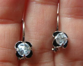 FINAL MARKDOWN Charming Antique Silver Sleepers Rock Crystal Earrings.