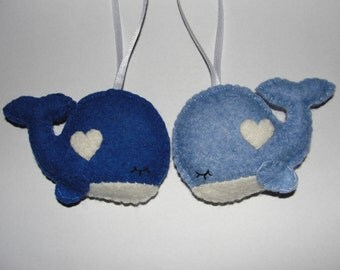 Lovely Wool Felt Whale Ornament, Whale Ornament, Felt Whale, Baby Shower Gifts, Housewarming Ornament, Decor, Gift,