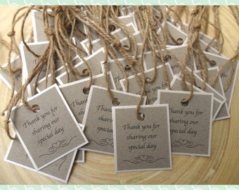 50 Rustic Vintage Thank You Tags - Weddings, Engagement, Christening and Birthday Celebrations
