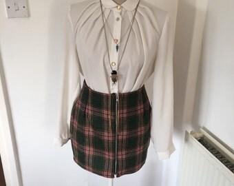 Zip Front Wool Mini Skirt