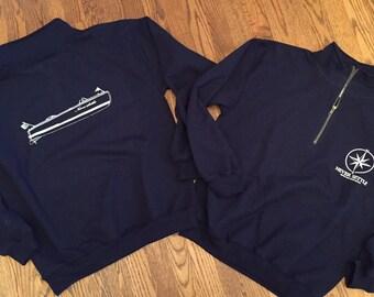 Gildan Vintage Navy 1/4 Zip Antique Boat Sweatshirt - Never Settle Apparel
